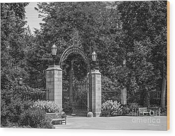 University Of Chicago Hull Court Gate Wood Print by University Icons