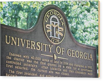 Wood Print featuring the photograph University Of Georgia Sign by Parker Cunningham