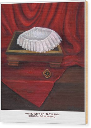 Wood Print featuring the painting University Of Maryland School Of Nursing by Marlyn Boyd