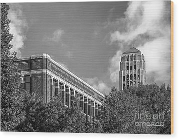 University Of Michigan Natural Sciences Building With Burton Tower Wood Print by University Icons