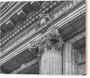 University Of Pennsylvania Column Detail Wood Print by University Icons