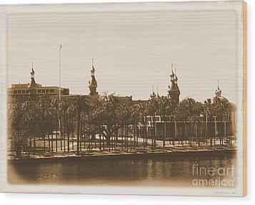 University Of Tampa - Old Postcard Framing Wood Print by Carol Groenen