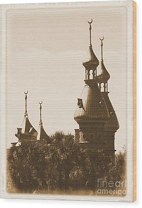 University Of Tampa Minarets With Old Postcard Framing Wood Print by Carol Groenen