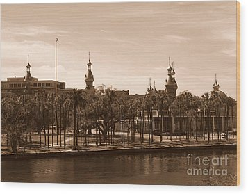 University Of Tampa With River - Sepia Wood Print by Carol Groenen