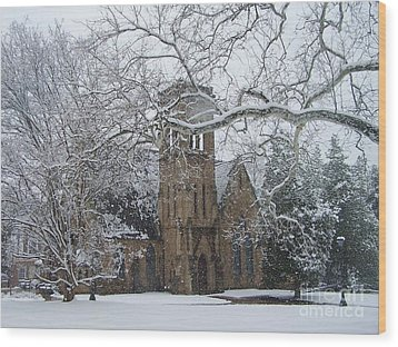 University Of Virginia Chapel Wood Print by Charlotte Gray