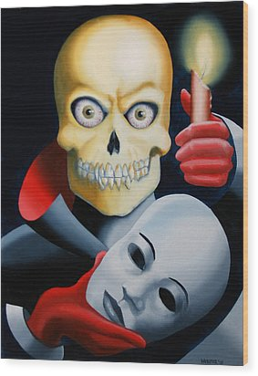 Unmasked - Skull Oil Painting Wood Print by Mark Webster