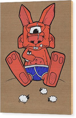 Uno The Cyclops Bunny Wood Print by Bizarre Bunny