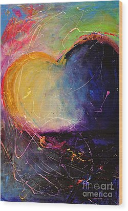 Unrestricted Heart Sunset Colors Wood Print by Johane Amirault