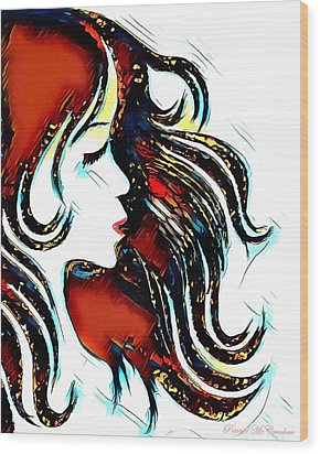 Wood Print featuring the digital art Unrestricted-abstract by Pennie McCracken