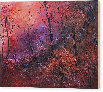 Unset In The Wood Wood Print by Pol Ledent