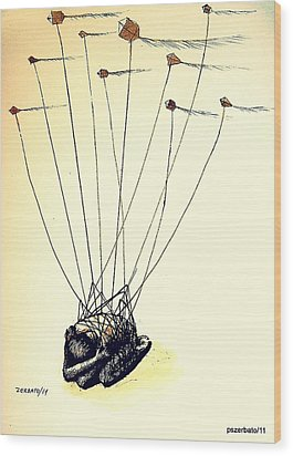 Unsuccessful Attempt To Raise High Flights Wood Print by Paulo Zerbato