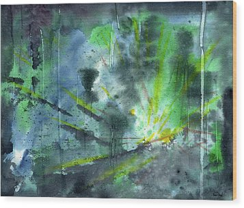 Untitled Abstract Watercolor Wood Print by Sean Seal
