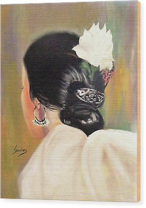 Untitled Dancer With White Flower Wood Print by Manuel Sanchez