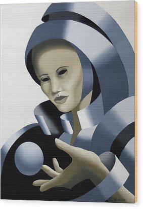 Untitled Futurist Mask Oil Painting Wood Print by Mark Webster