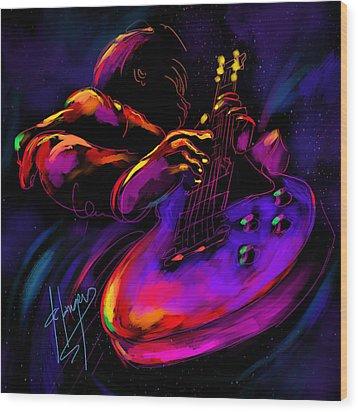 Untitled Guitar Art Wood Print by DC Langer
