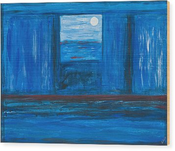 Untitled In Blue Wood Print by Celesty  Claudio