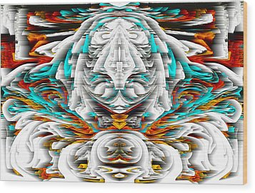 Wood Print featuring the digital art 992.042212mirrorornategoldvert-2-c by Kris Haas