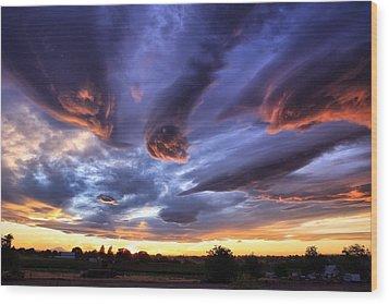 Alien Cloud Formations Wood Print