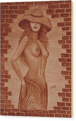 Wood Print featuring the painting Unveiled Topless Original Coffee Painting by Georgeta Blanaru