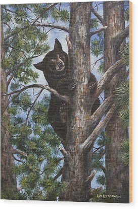 Wood Print featuring the painting Up A Tree by Kim Lockman