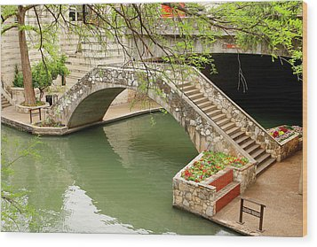 Wood Print featuring the photograph Up And Over - San Antonio River Walk by Art Block Collections