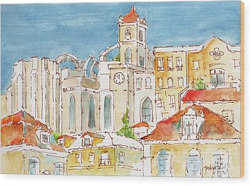 Wood Print featuring the painting Up From Rossio Square by Pat Katz