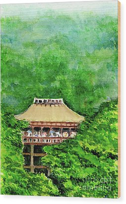 Wood Print featuring the painting Up High Temple by Yoshiko Mishina