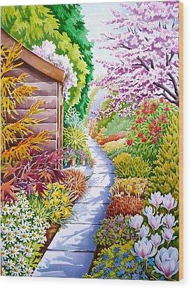 Up The Garden Path Wood Print by Debbie  Diamond