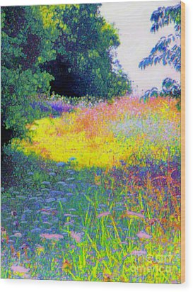 Uphill In The Meadow Wood Print by Shirley Moravec