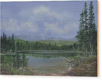 Wood Print featuring the painting Upland Lake by Ken Ahlering