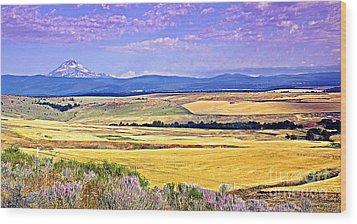 Upon Golden Fields Wood Print by Steve Warnstaff