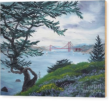 Upon Seeing The Golden Gate Wood Print by Laura Iverson