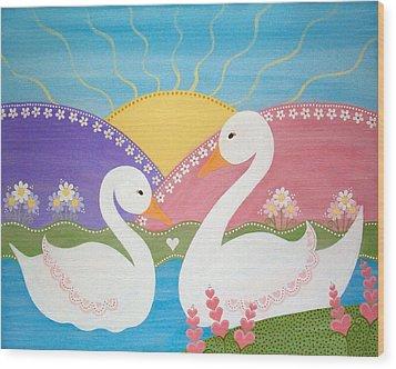 Upon Swan Lake Wood Print by Samantha Shirley