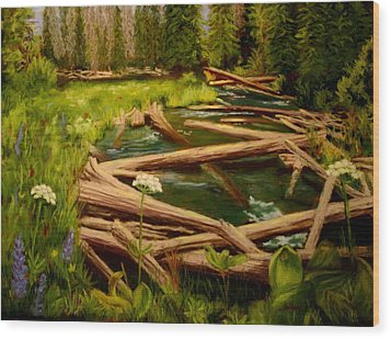 Wood Print featuring the painting Upper Deschutes by Nancy Jolley