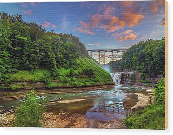 Upper Falls At Sunset Wood Print