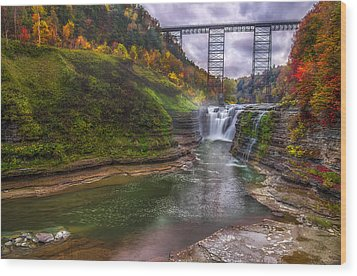 Upper Falls In Fall Wood Print