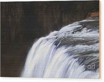 Upper Mesa Falls Wood Print by Dennis Hammer