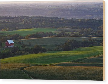 Upper Mississippi River Valley Hills Wood Print