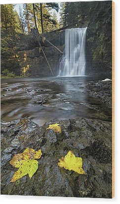 Upper North Falls In Autumn Wood Print by David Gn