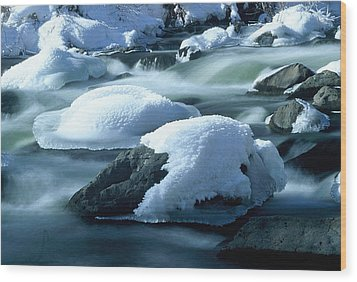 Upper Provo River In Winter Wood Print by Dennis Hammer
