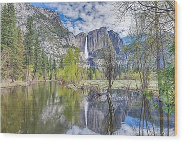 Wood Print featuring the photograph Upper Yosemite Falls In Spring by Scott McGuire