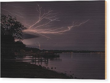 Upward Lightning Wood Print