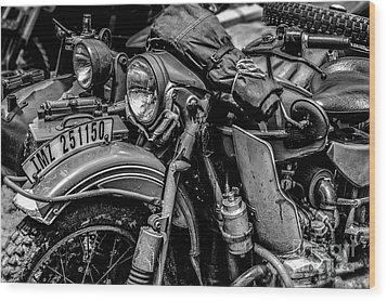 Wood Print featuring the photograph Ural Patrol Bike by Anthony Citro