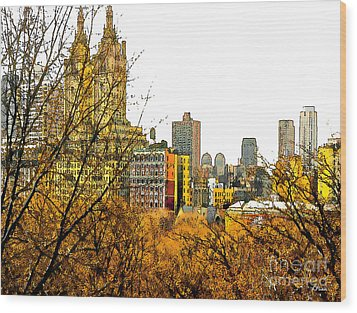 Urban Autumn In Nyc Wood Print by Linda  Parker