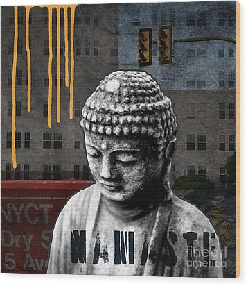 Urban Buddha  Wood Print by Linda Woods