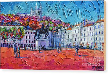 Urban Impression - Bellecour Square In Lyon France Wood Print