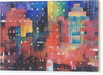 urban landscape 8 - Shadows and lights Wood Print by Alessandro Andreuccetti