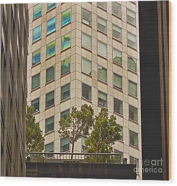 Urban Living In San Francisco Financial District Wood Print by Mark Hendrickson