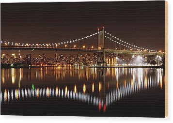 Urban Night Reflection Wood Print