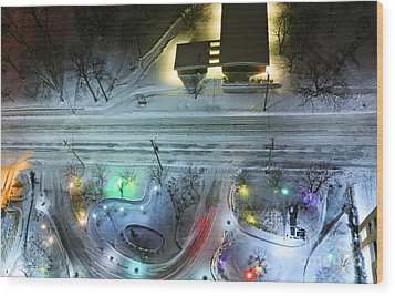 Wood Print featuring the photograph Urban Road And Driveway In Fresh Snow by Charline Xia